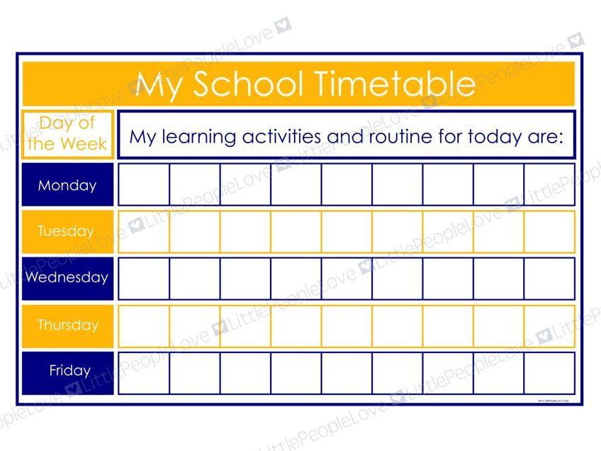 My School Timetable (Blue/Yellow)