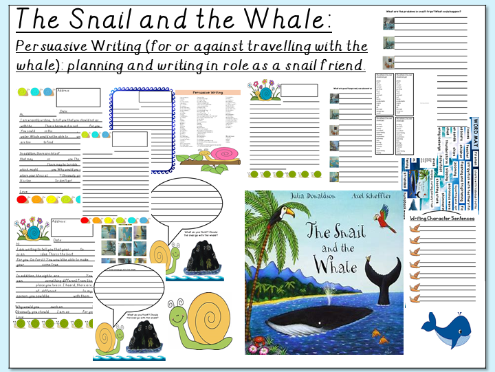 The Snail and the Whale- Persuasive writing for or against travelling with a whale