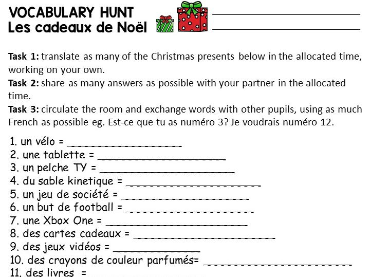 Cadeaux de Noel Vocabulary Hunt