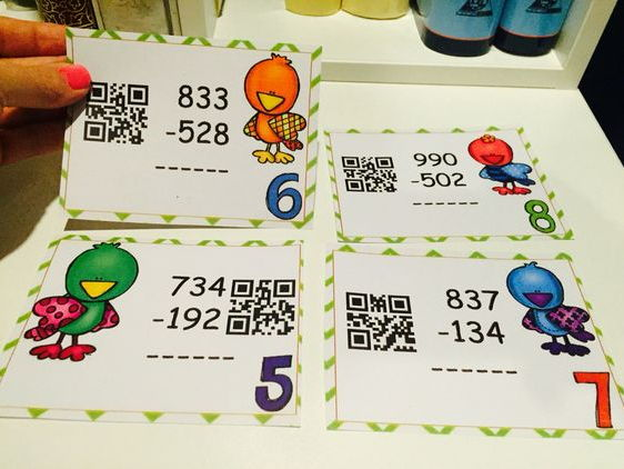 Three-digit Subtraction :QR CODE Task Cards