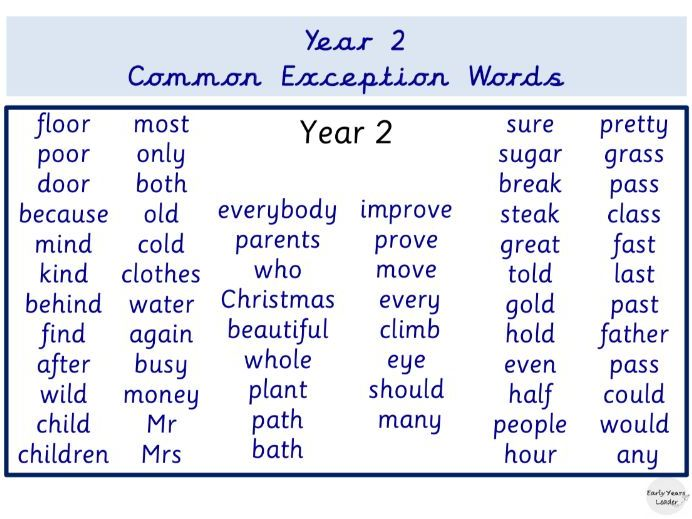 Year Two Common Exception Word Mat