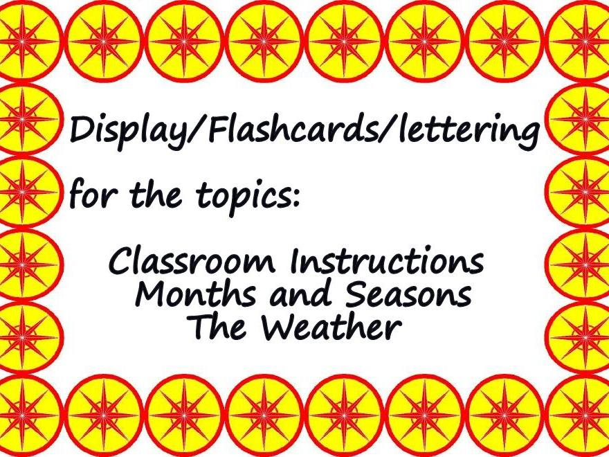 FRENCH -  CLASSROOM INSTRUCTIONS - MONTHS & SEASONS - WEATHER - display/flashcards BUNDLE