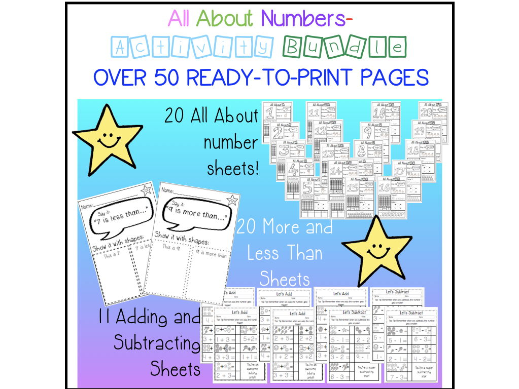 All ABout Numbers - over 50 no prep worksheets