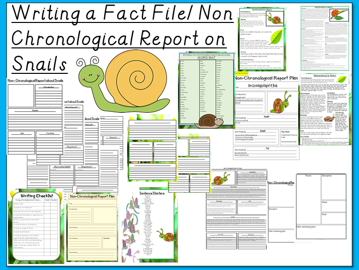 Non-Chronological Report/ Fact File on Snails- Writing, Planning, Examples and Features