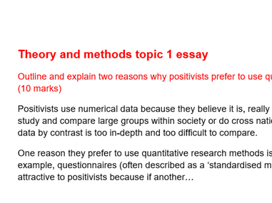 Sociology Theory and Methods Topic 1 Essays