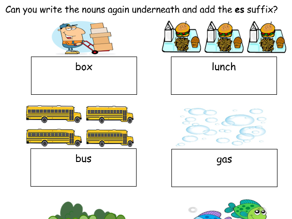 """Adding """"es"""" suffix to Nouns and Verbs- 4 Worksheets Differentiated"""