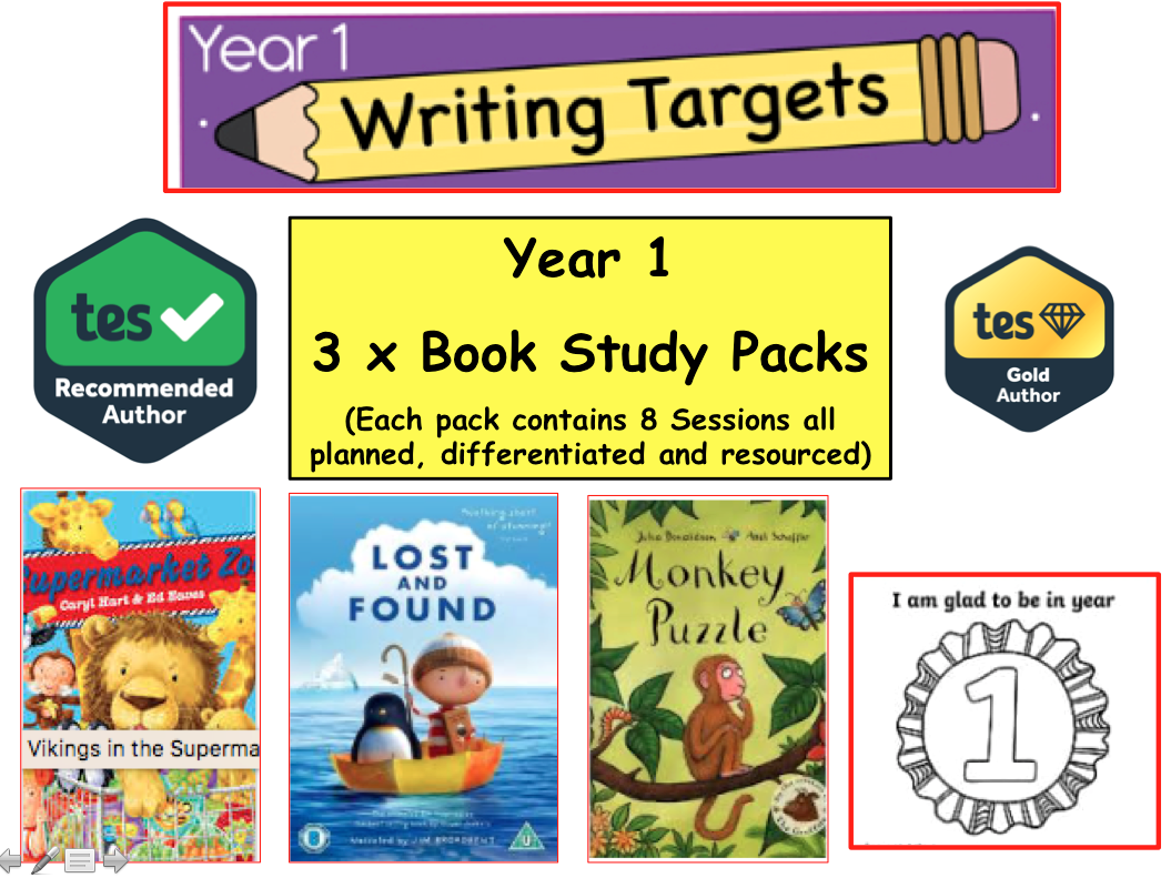 3 x Year Y1 / Y2 Literacy Book Study Resource Pack (English, Creative Writing, Fiction, literacy Year 1)