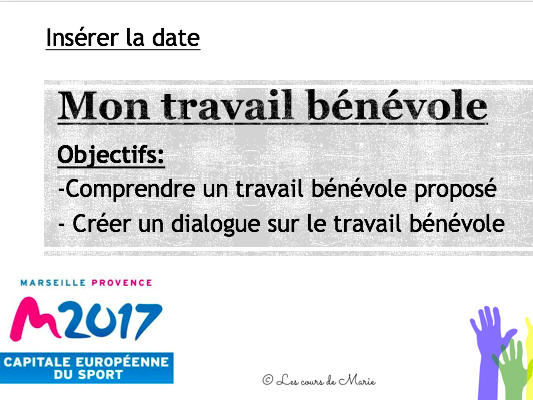 Une opportunité de bénévolat / A volunteering opportunity (GCSE and A-Level French)