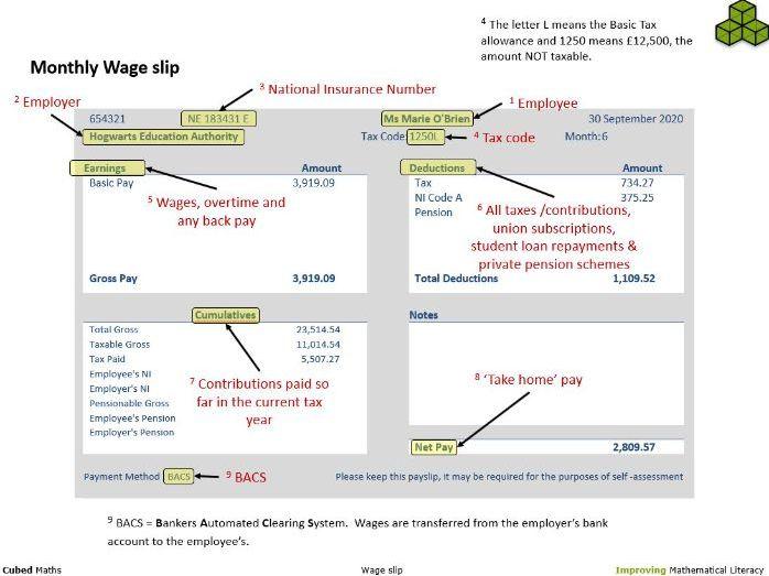 UK Monthly wage slip - 2020 (ppt)