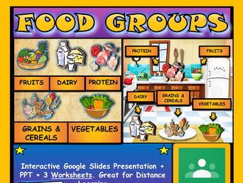 The Food Groups: Google Slides, Distance Learning + 3 Worksheets
