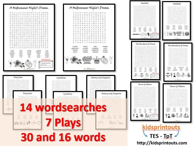 Wordsearches x 14 based on 7 Shakespeare plays - PACK 3