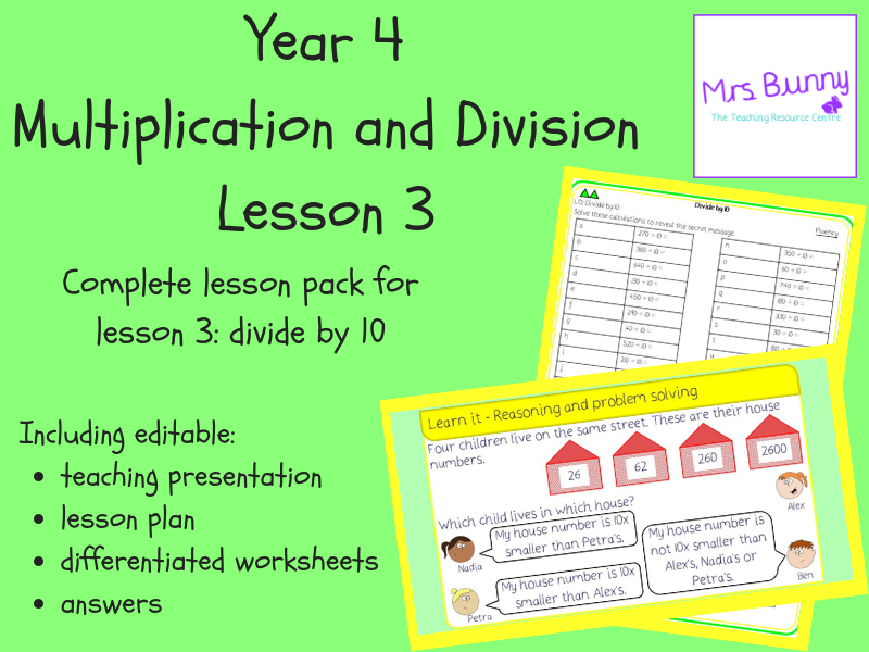 3. Multiplication and Division: divide by 10 lesson pack (Y4)