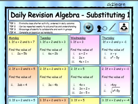 Math Daily Revision Worksheets -  Algebra 1 Substituting / Substitution Worksheet