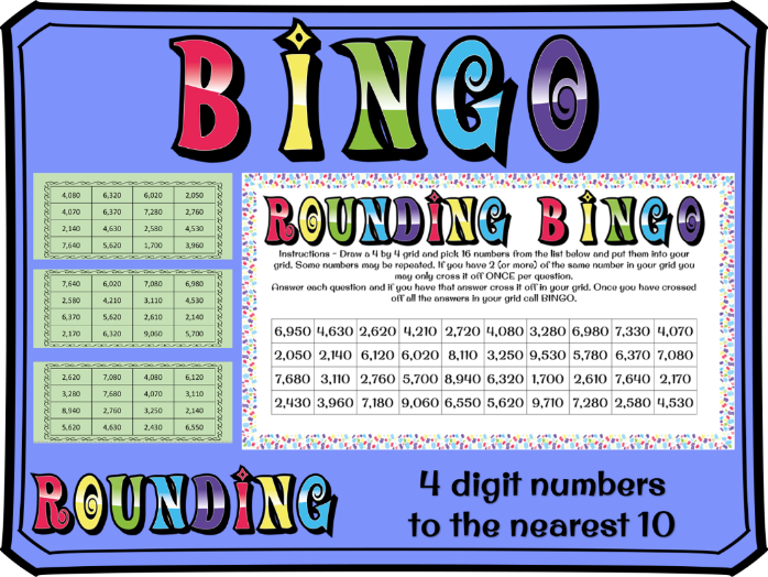 Rounding to the nearest 10 with 4 digit numbers BINGO