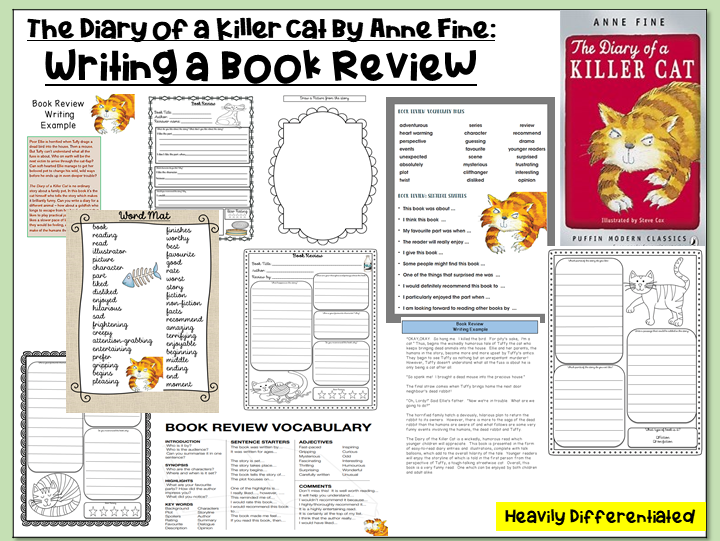 The Diary of a Killer Cat by Anne Fine- Writing a Book Review (Heavily Differentiated)