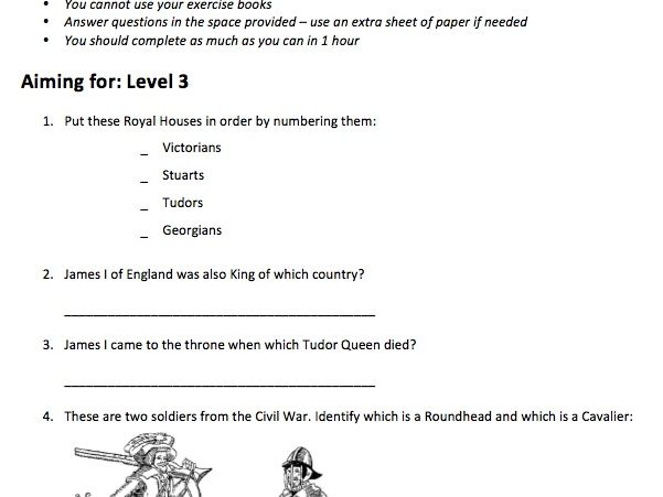 KS3 Stuarts Assessment (made for SEN, differentiated by NC Levels)