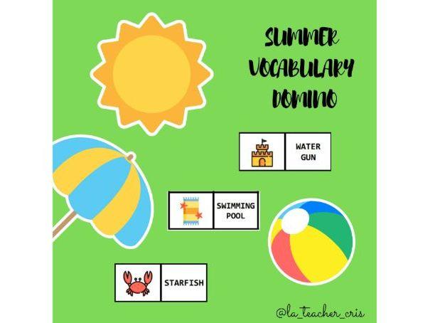Summer vocabulary domino game