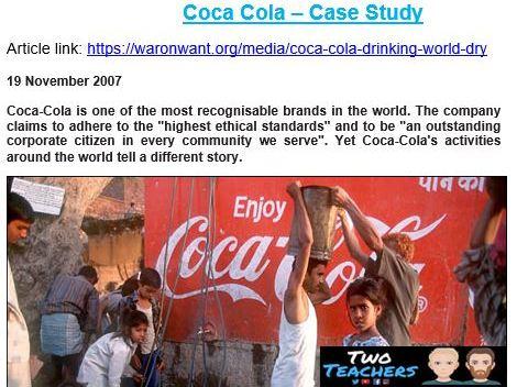Coca Cola Case Study & Questions | Investigating Corporate Social Responsibility