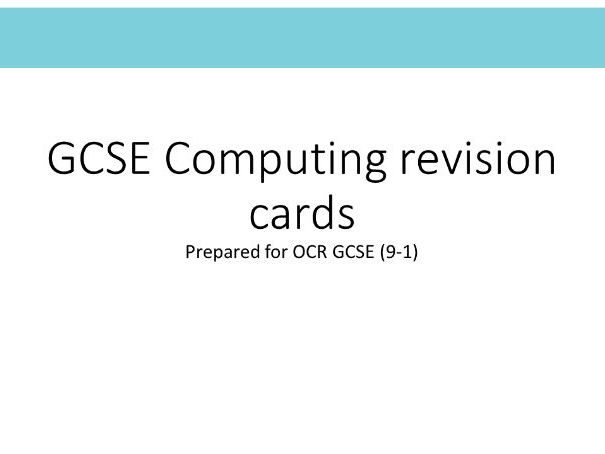 GCSE Computer Science Revision and Challenge cards for  OCR GCSE (9-1) J276