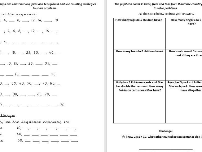 Year two Working towards the standard assessment framework maths pack