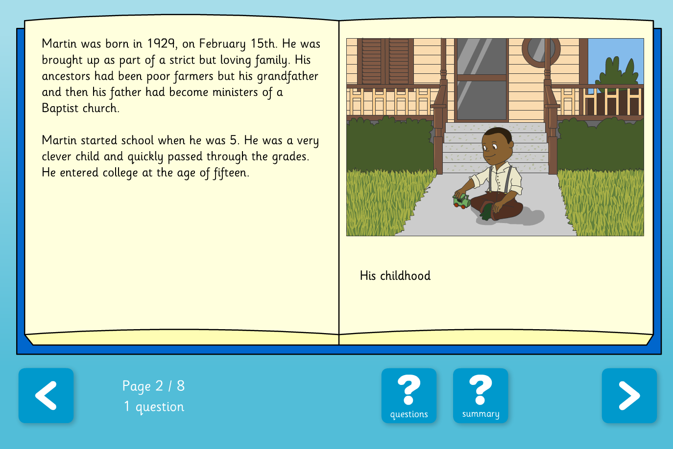 Martin Luther King Jr. Interactive Information Book and Questions - Reading Level B - KS2