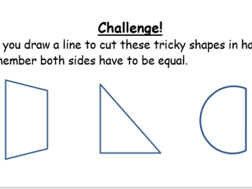 Halving 2D Shapes - 3 Worksheets