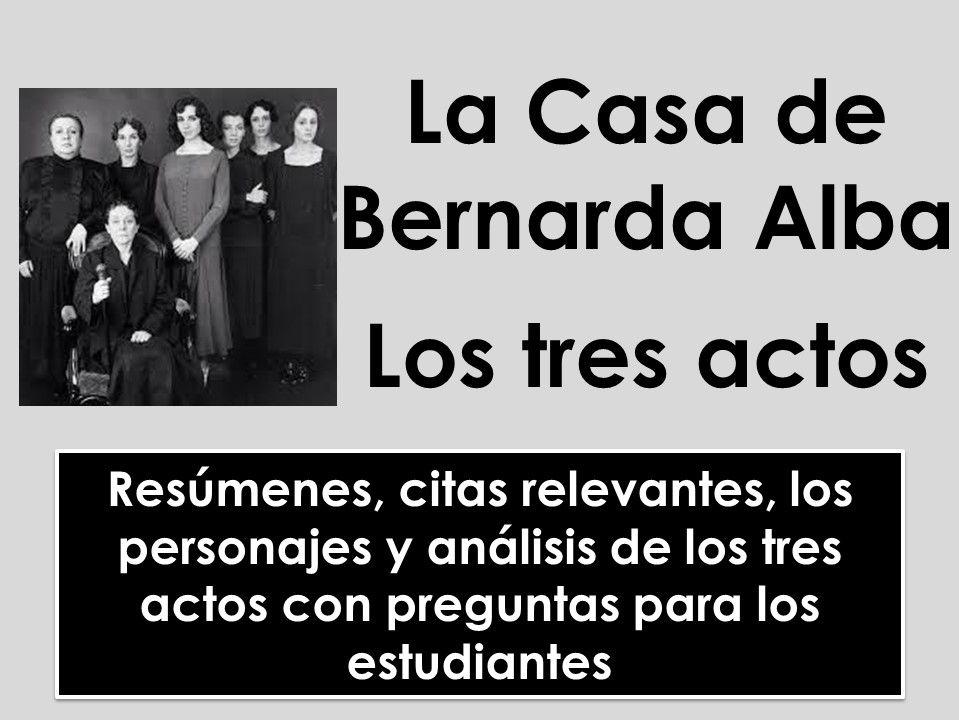 A-level Spanish: La Casa de Bernarda Alba - Análisis de los tres actos, citas y personajes