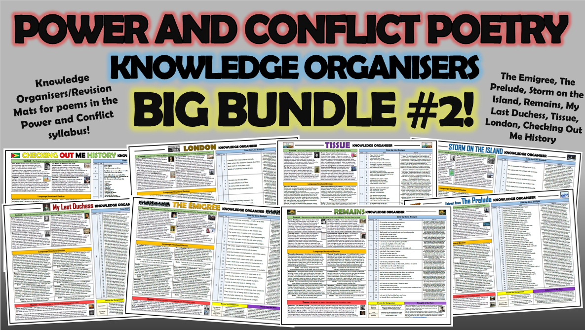 Power and Conflict Poetry Knowledge Organisers Big Bundle 2!
