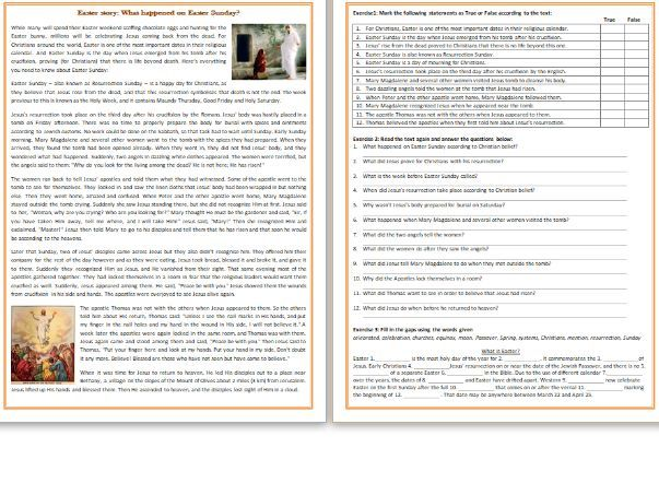 What happened on Easter Sunday - Reading Comprehension Worksheet / Text