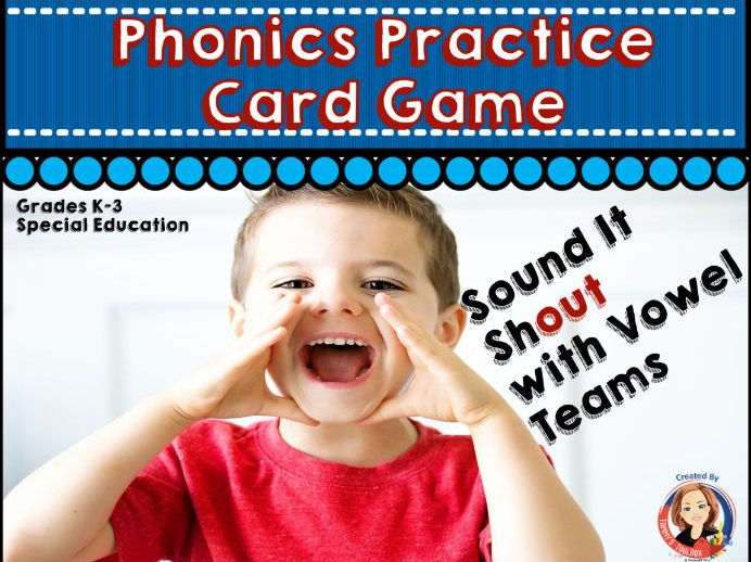 Phonics Practice Card Game for Vowel Pairs