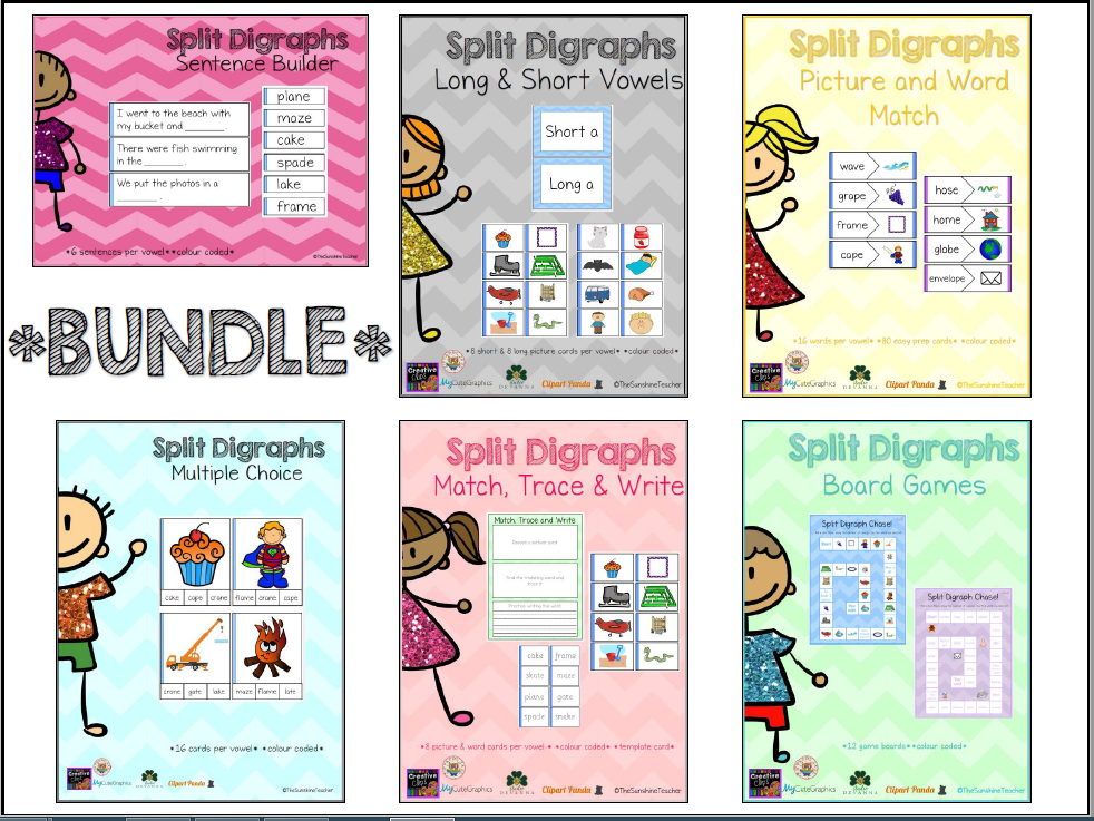 Split Digraphs - Magic E - BUNDLE - 6 Activities - Phonics
