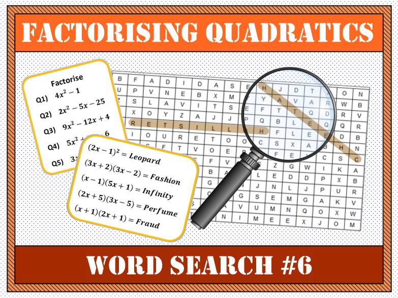 Factorising Quadratics Word Search #6