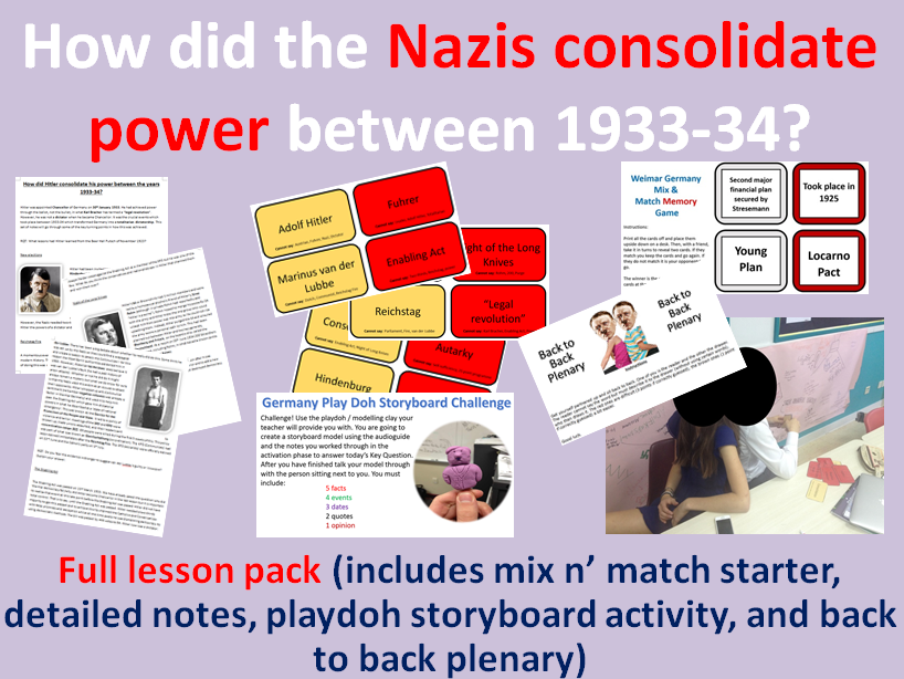 Nazi Consolidation - Full lesson pack (mix n' match starter, notes, main task, back to back plenary)