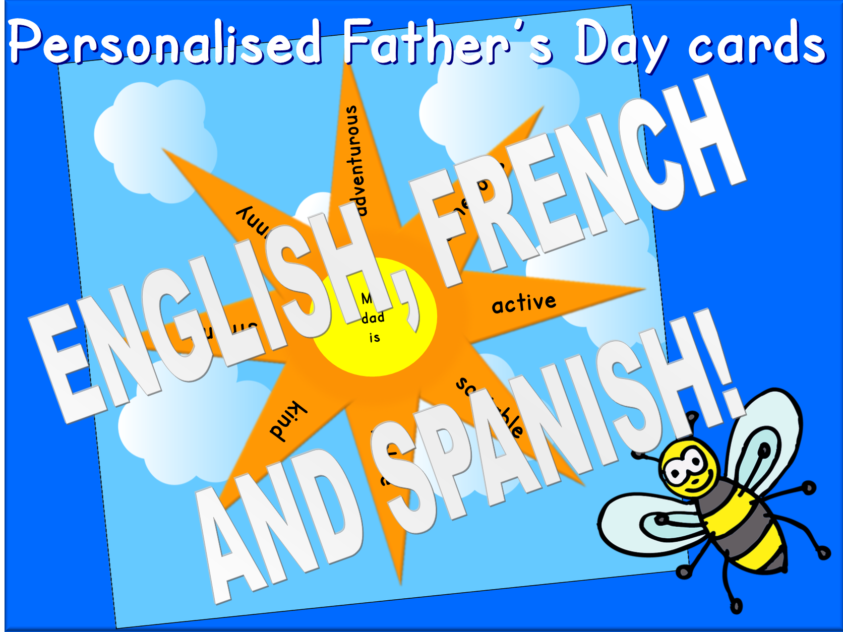 Personalised Father's Day cards in French, Spanish and English