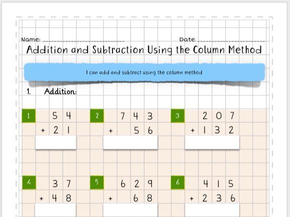 Column Addition and Subtraction Homework Test