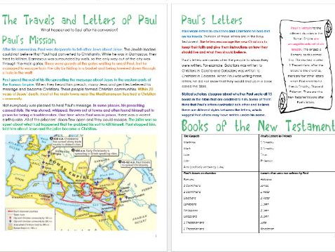 Jesus in Jerusalem: Travels and Letters of Paul: Differentiated Activity Sheets