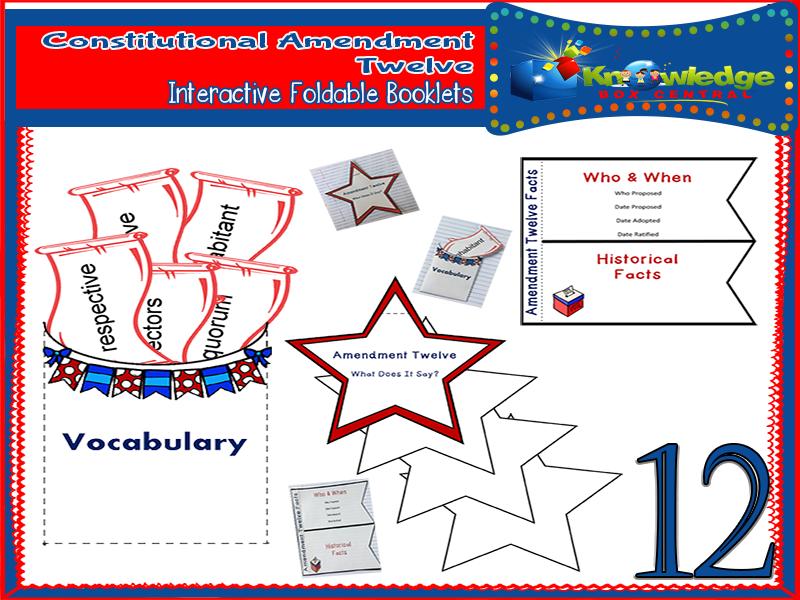 Constitutional Amendment Twelve Interactive Foldable Booklets