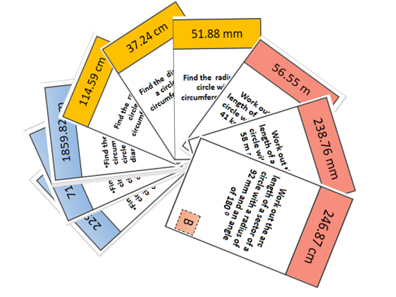 Circumference of circles set of differentiated treasure hunts (10 cards for each difficulty)