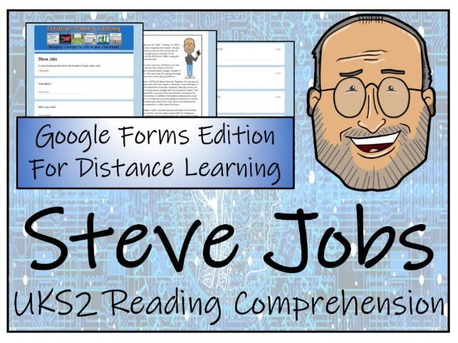 UKS2 Steve Jobs Reading Comprehension & Distance Learning Activity