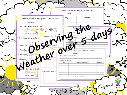 Weather observation recording sheets – record over 5 days