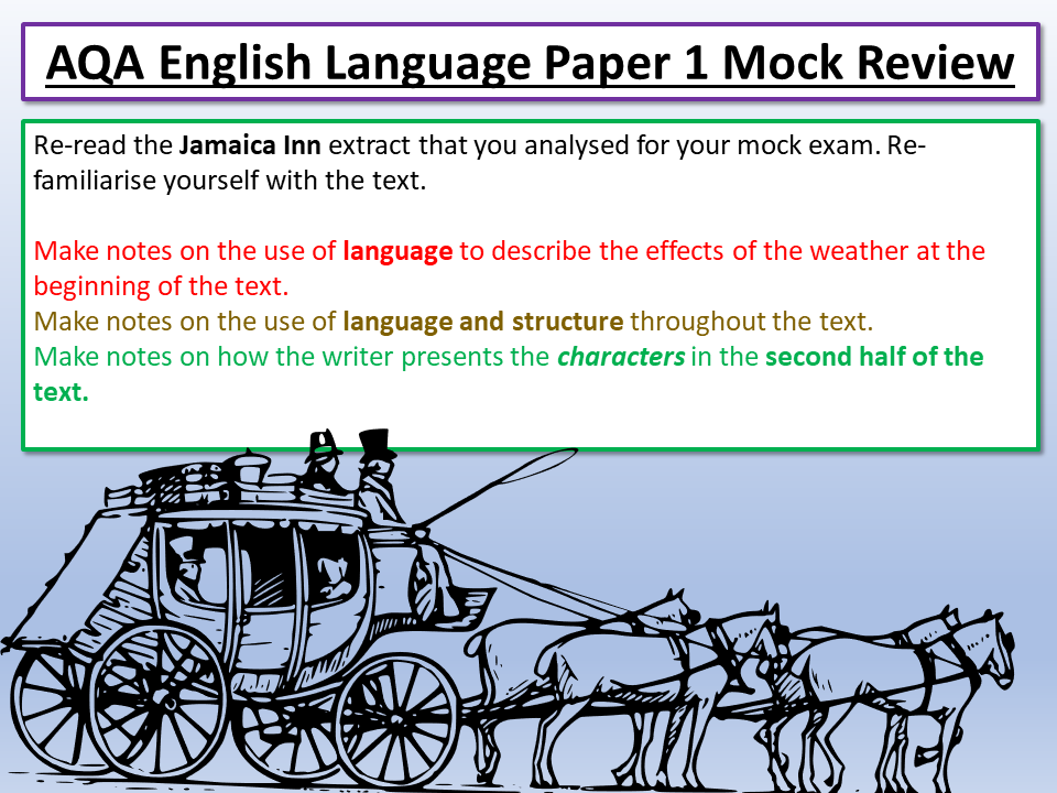 AQA English Language Paper 1 Mock Review - Jamaica Inn