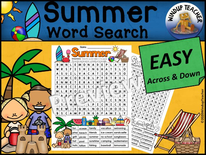 Summer Word Search | EASY Puzzle | Ready to Go!