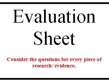 Evaluation sheet for Psychological Studies