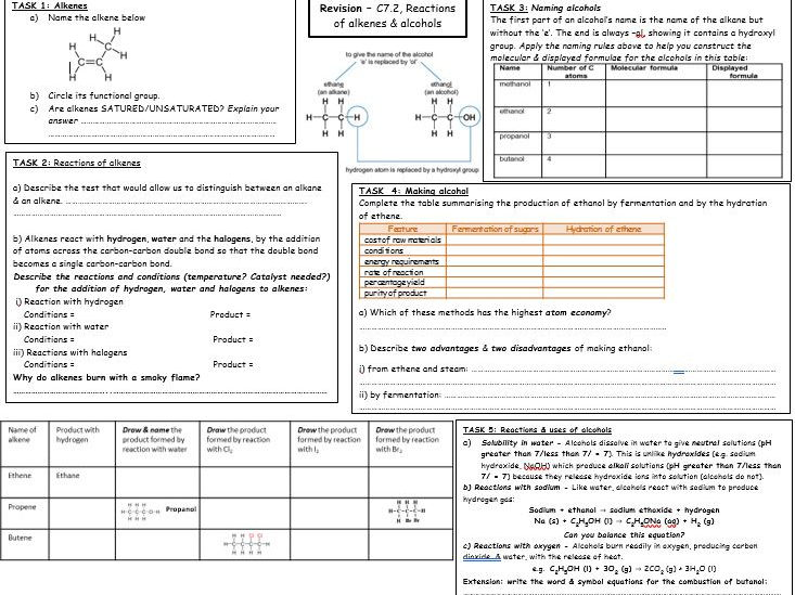 C7.2 - reactions of alkenes & alcohols revision broadsheet for new Chemistry/Combined Science GCSE