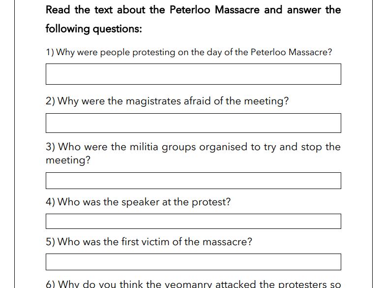 The Peterloo Massacre - Question & Answer Sheet