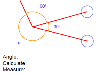 Name, calculate and measure angles around a point (differentiated) - with answers
