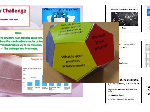 Intro lesson. Ice Breaker Dice/Ball Template. Marshmellow challenge handout. Intro handout.