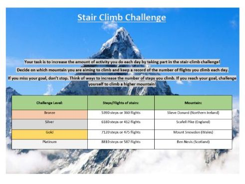 Core PE - Lockdown fitness resource - Mountain climb challenge
