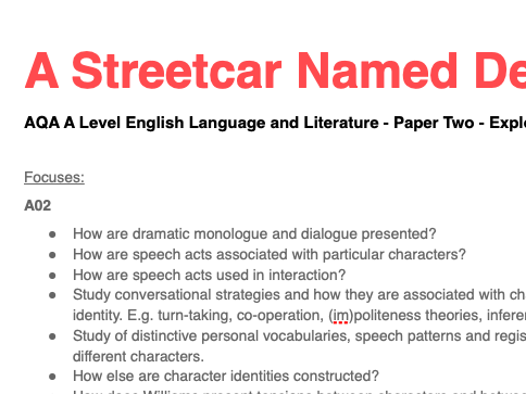 AQA A Level English Language & Literature - Paper Two - Exploring Conflict: A Streetcar Named Desire
