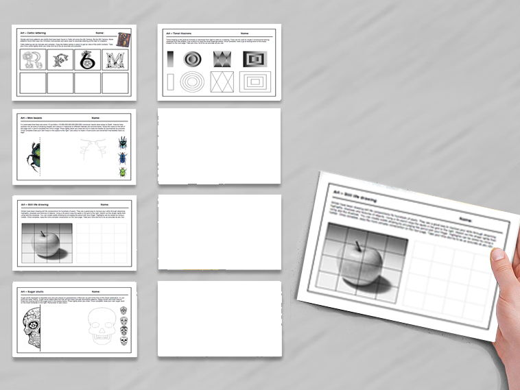5 activities for Art cover  work / cover lessons - Tried and tested worksheets